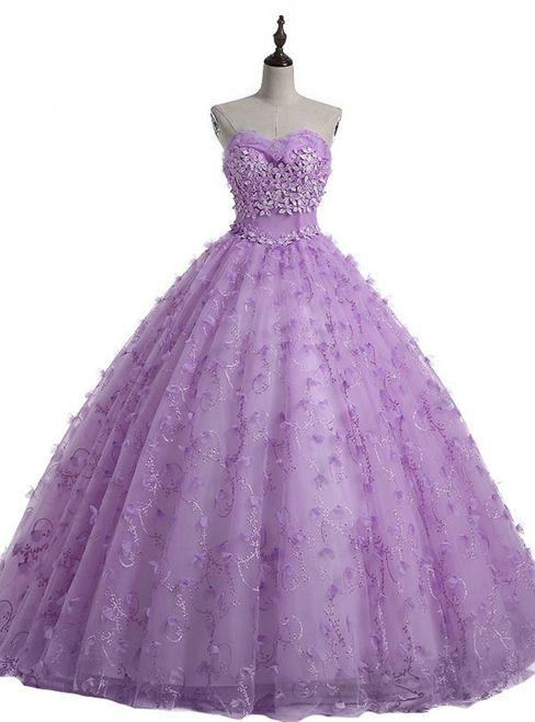 Purple Sweetheart Tulle Flower Ball Gown Wedding Dress Ball