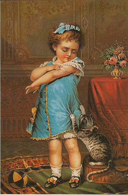 Naughty Puss, 19th century (American). Advertising trade card for Jayne's Tonic Vermifuge,