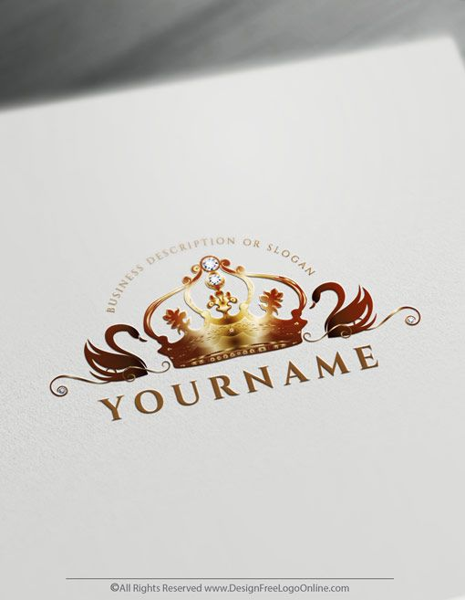 Create Royal Swans Logo Design Free Crown Logo Maker Logo Design Free Vintage Logo Maker Jewelry Logo Design