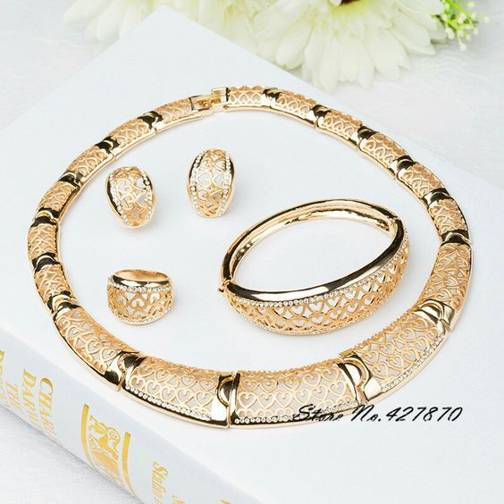 New Arrival African Costume Jewelry Sets 18K Gold Plated Fashion Wedding Women Bridal Accessories nigerian Necklace Set J008