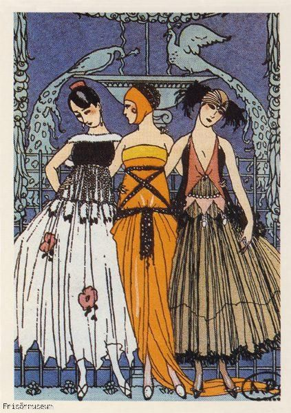 The Three Graces postcard -- 1920 by George Barbier (French fashion illustrator, 1882-1932)