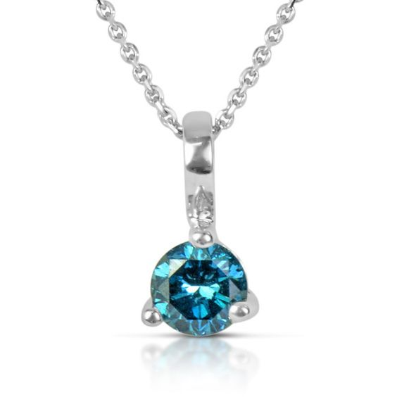 Suzy Levian 14k White Gold .22ct TDW Blue Diamond Solitaire Pendant... ($300) ❤ liked on Polyvore featuring jewelry, necklaces, blue, blue pendant necklace, diamond necklace pendant, white gold necklace, diamond necklaces and 14k white gold necklace