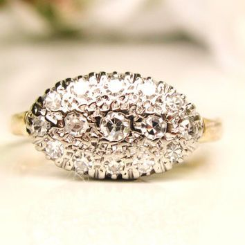Vintage Pave' Diamond Ring 0.33ctw Diamond Cluster Wedding Ring