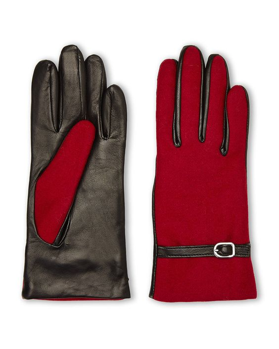 These cashmere lined two-toned gloves with their belt accent work perfectly on their own, but we love to style them with a red hat and black coat to really highlight the contrasting tones. | http://aol.it/1wbjWwO