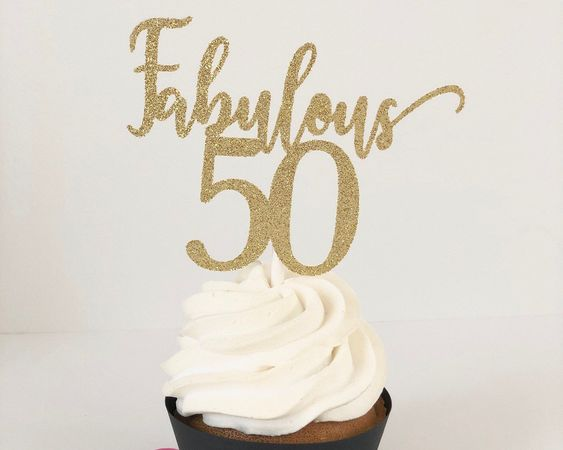 Excited to share this item from my #etsy shop: Fabulous 50 cupcake toppers for 50th birthday party, birthday cake toppers