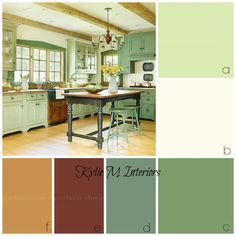 ideas for rustic farmhouse or country style kitchen cabinets.  Benjamin Moore Guilford Green and other colours are used in this palette