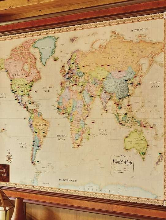 Perfect for an office or media room the World Magnetic Travel Map – Pin Your Travel Map