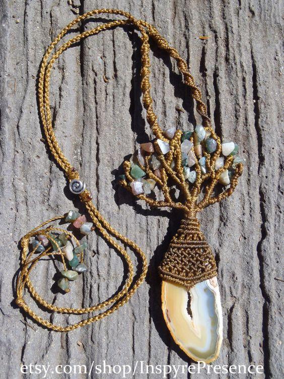 Natural Handmade Micro Macrame Tree of Life by tanyaedasilva