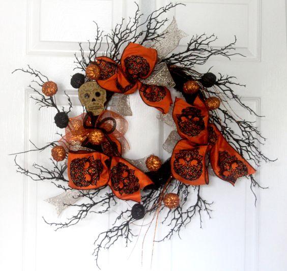 Halloween Sugar Skull wreath, Home decor, halloween decorations, day of the dead wreath, decor, sugar skulls, Extra Large wreath by Leopard on Etsy