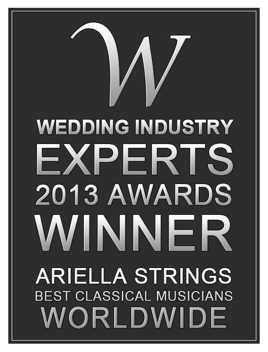 We have won Best Classical Musicians worldwide in the 2013 Wedding Industry Experts Awards! Thanks to all of you who voted for us! Also a very big thanks to TEAM Ariella for without our musicians we wouldn't be able to give the excellent service that we provide to our clients!