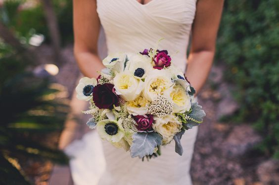 AZ Flower Bar - Bridal bouquet with anemones, garden roses, and ranunculus