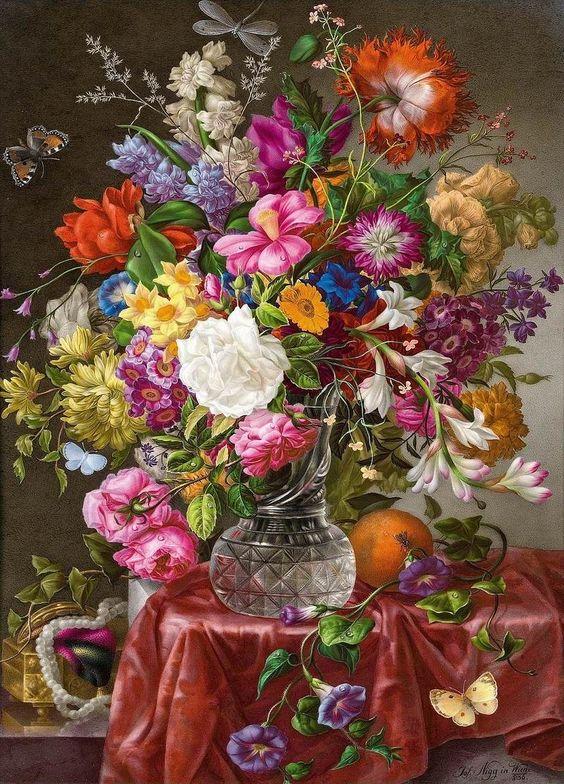 levkonoe: Joseph Nigg (Austrian 1782-1863) Floral still life with butterflies: