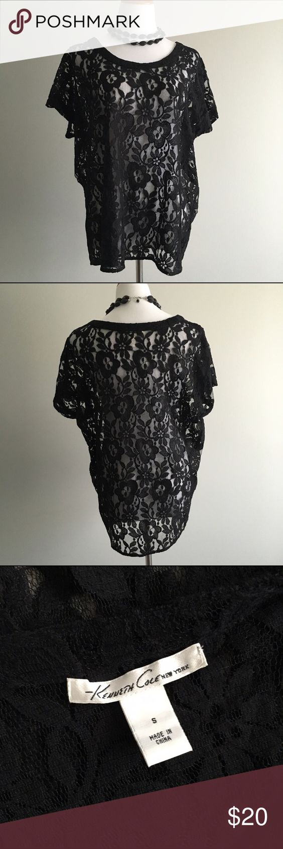 Kenneth Cole NY Black Lacey Floral Top Black floral lace top by Kenneth Cole NY. Size S but can also fit M (it's a roomy style). Pair it with a cami! Cotton/nylon blend. Kenneth Cole Tops Tees - Short Sleeve