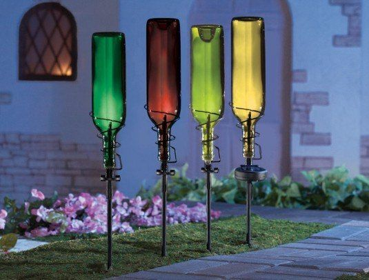 Wonderful diy backyard ideas wine bottles decoration for Outdoor decorating with wine bottles