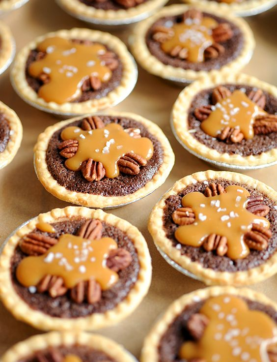 Mini Salted Caramel Pecan Fudge Pies | Styling My Everyday