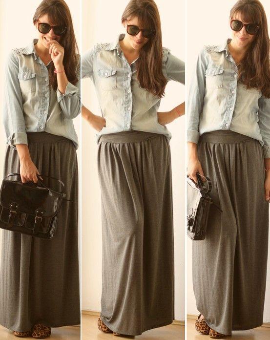 Saia longa e camisa jeans
