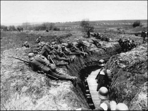 Germans outside their trench