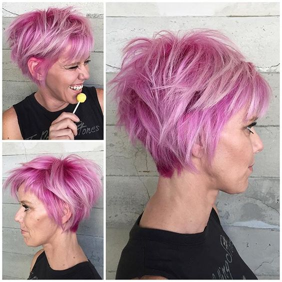 Bubblegum Pink Hair Color And Messy Short Hairstyle Short Haircut By