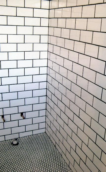 Subway Tile Wall Penny Round Tile Floor Dark Grout For