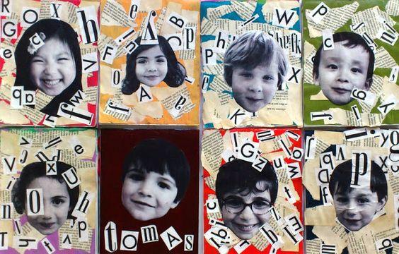 Initiales prénoms vieux livres Vous aurez besoin d'un vieux livre , de magazine, d'une feuille de couleur et de la photocopie du visage de l'enfant. Déchirer et coller des pages du vieux livre sur la feuille de couleur. Puis coller le visage par dessus. Chercher les initiales (ou les lettres du prénoms entier) dans un magazine et coller autour du visage