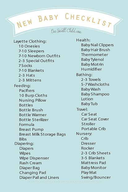 Free Printable New Baby Checklist from wwwOneSmallChild - newborn checklist