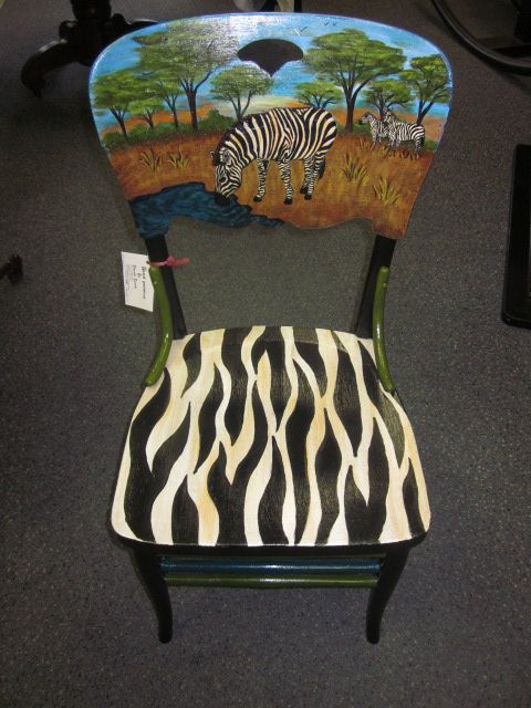 Hand painted upcycled chair by Cherie at Studio 213.: