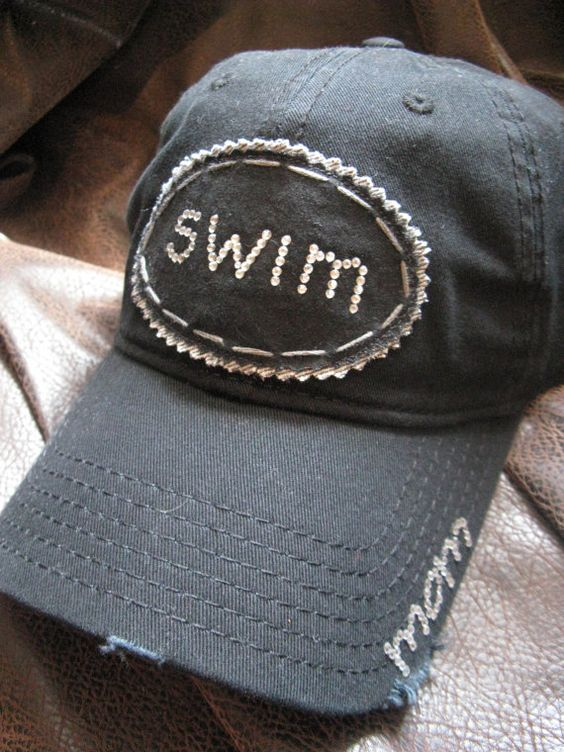 Bling SWIM Mom Distressed Ball Cap by BlingirlSpirit on Etsy