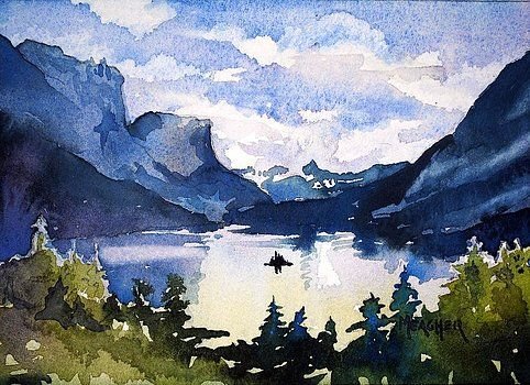 Glacier National Park By Spencer Meagher Watercolor Landscape