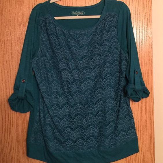 Dark Turquoise 3/4 length sleeved blouse Dark Turquoise 3/4 length sleeved blouse Maurices Tops