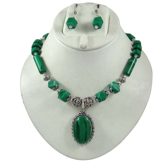 Malachite Stone Silvertone Oxidize Necklace Earring Sets Women Fashion Jewellery #iba #NotSpecified