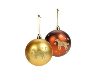 Weihnachtsbaumkugeln mit Hundemotiv
