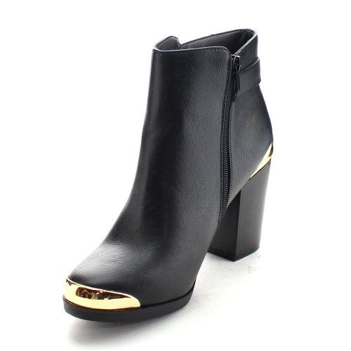 REFRESH APOLLO Women's Goldrush Chunky Heel Ankle Boot, Color:BLACK | Amazon.com