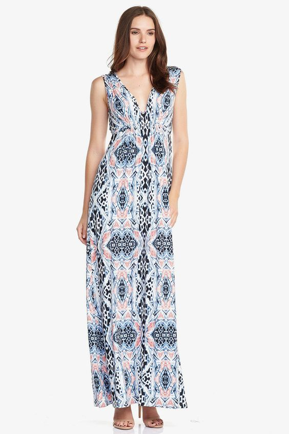 Pretty maxi dress!  I like the colors and pattern.