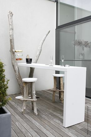 Modern outdoor dining this could be an option in the kitchen for the computer