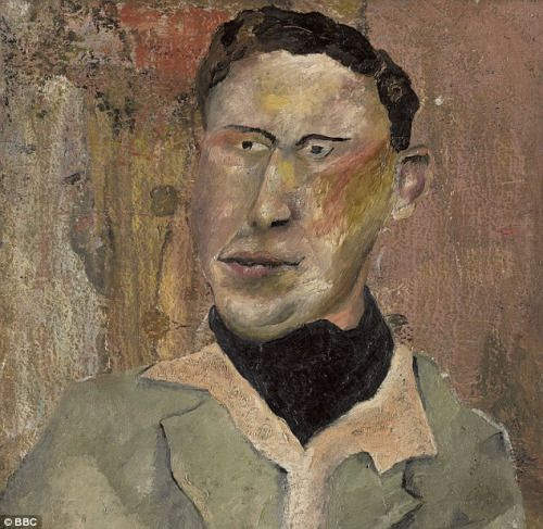 Man in a black cravat (1939) by (attributed to) Lucian Freud (1922-2011), British - Freud denied he painted this, but Fake Or Fortune, a BBC television show BBC, has attributed the painting (pictured) to the acclaimed portrait artist. Perhaps he didn't paint the whole canvas (kundst)