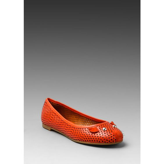 Marc by Marc Jacobs Mouse Ballerina Flat in Metal ($131) ❤ liked on Polyvore