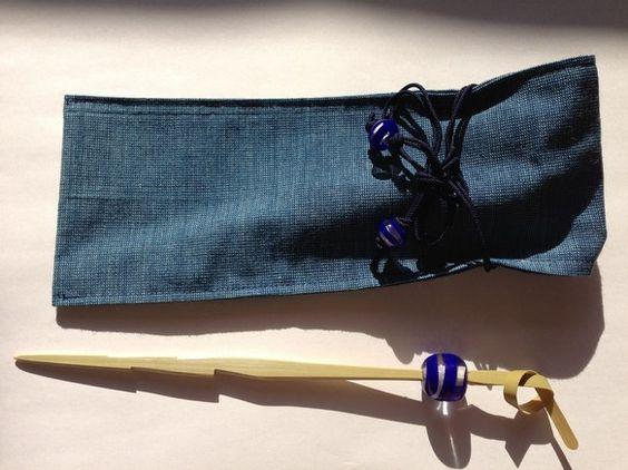 透明のガラスに青ガラスを巻いてあります。袋、かんざしも全て手作りです。|ハンドメイド、手作り、手仕事品の通販・販売・購入ならCreema。
