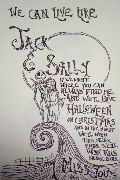 Blink 182 lyrics Jack & Sally; I miss you