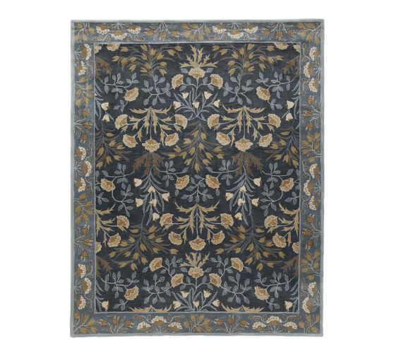 Adeline Hand Tufted Wool Rug Blue Persian Style Rug Pottery Barn Rugs Wool Rug