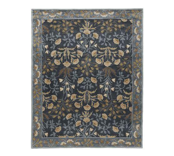 Adeline Hand Tufted Wool Rug Blue Persian Style Rug Pottery Barn Rugs Wool Rug