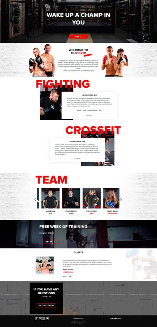 Gym Website Design Looks Modern And Cool Made With Black White And Red Colors Grossfit Website Design In 2020 Fun Website Design Crossfit Website Website Design