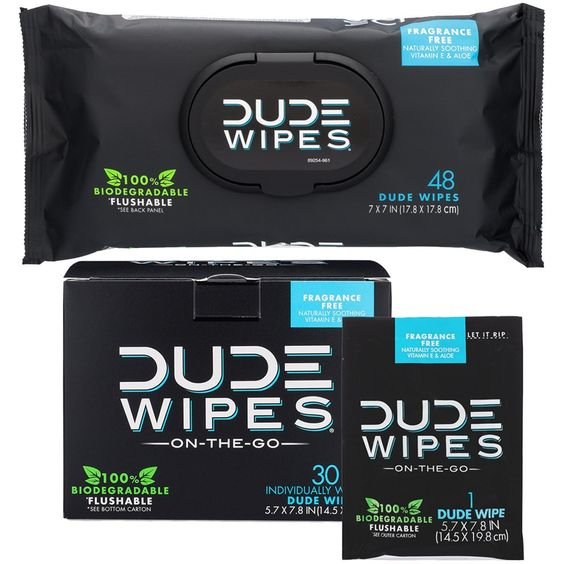 DUDE Wipes Flushable Wet Wipes 48 Count Dispenser /& 30 Single Wipes