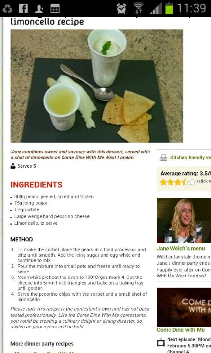 Come dine with me recipe to try