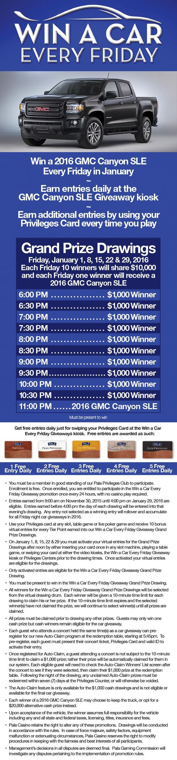 Win A Car Every Friday Giveaway With Images Gmc Canyon 2016