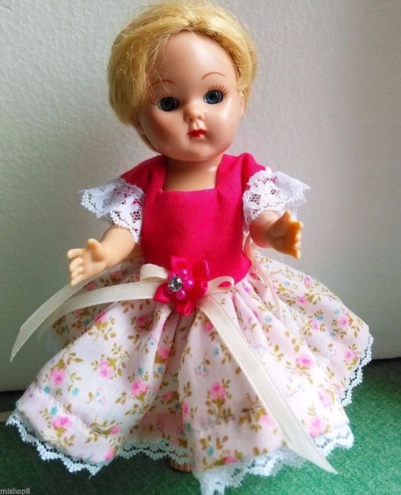 Hot pink top on a delicate pink bott. dress 4 Ginny & alike dolls  handmade #Unbranded