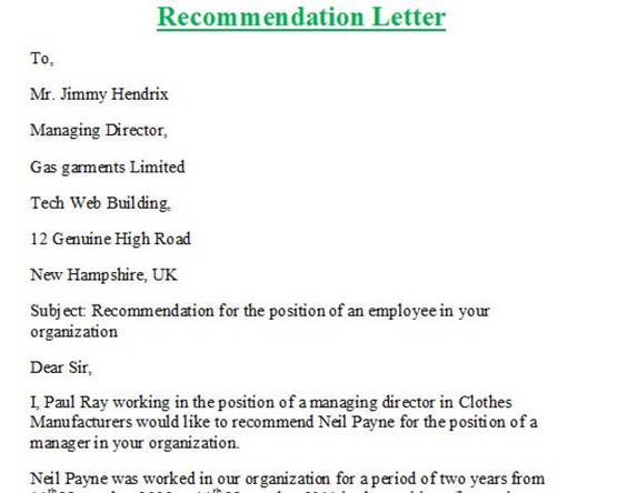 How To Say Letter Of Recommendation In Spanish