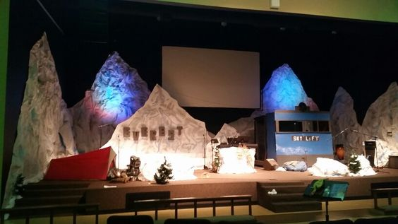 Stage design made with paper, swiss alps