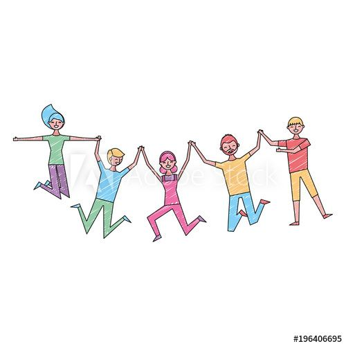 People Group Man And Woman Jumping Happy Vector Illustration Group Of People Drawing Drawing People People Illustration Sketches Of People