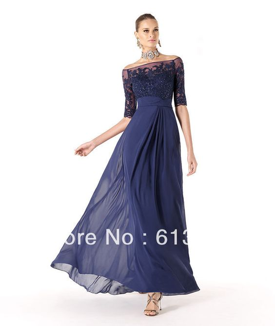 2013 New Arrival Fashion A-Line Chiffon Navy Blue Long Lace Beaded Half Sleeve Women Evening Dress Formal Party Gowns BO1616 US $139.00