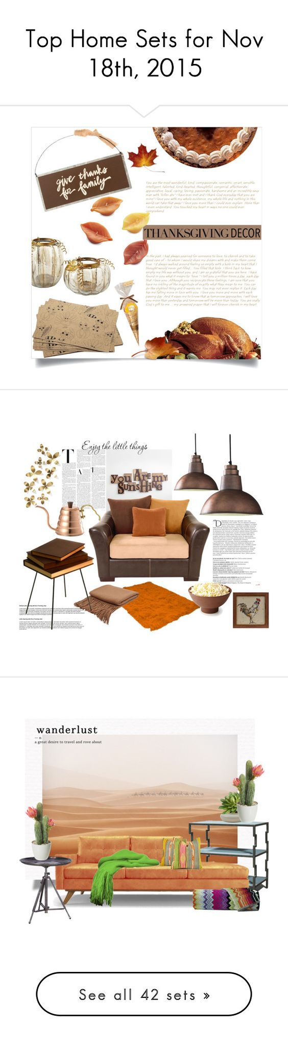 """""""Top Home Sets for Nov 18th, 2015"""" by polyvore ❤ liked on Polyvore featuring interior, interiors, interior design, home, home decor, interior decorating, Primitives By Kathy, Crate and Barrel, thanksgivingtable and Dot & Bo"""